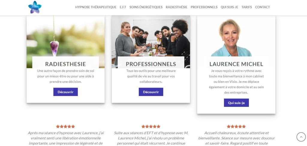 site internet pour hypnotherapeute